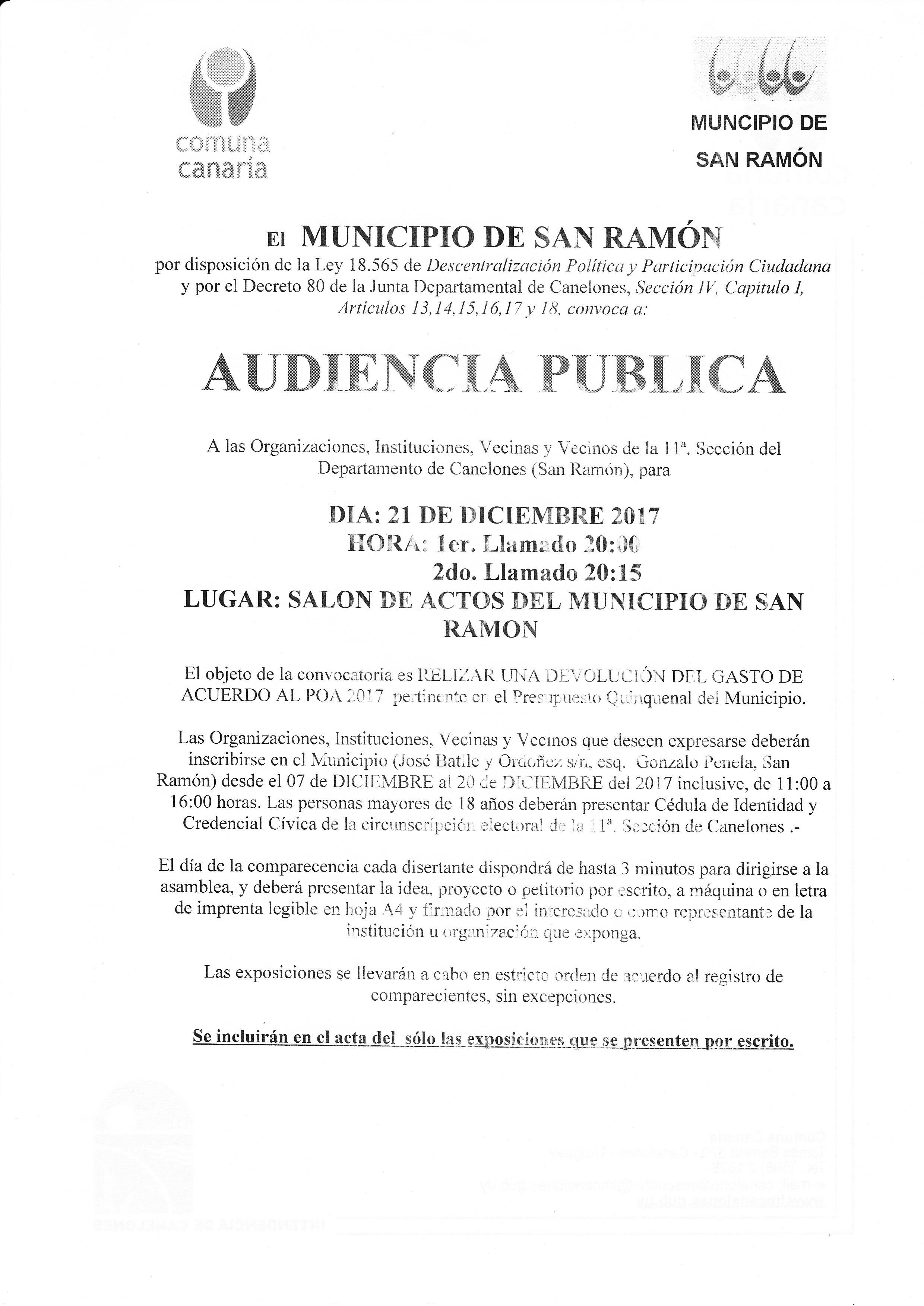 INVITACION AUDIENCIA PUBLICA