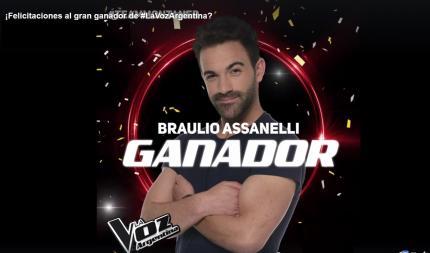 BRAULIO ASSANELLI DE SAN RAMON GANADOR DE LA VOZ ARGENTINA