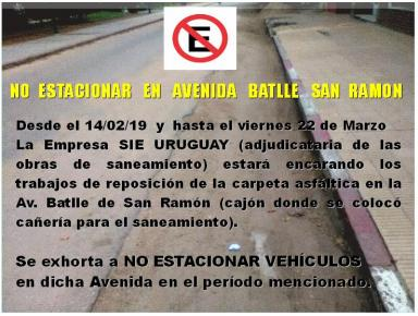 NO ESTACIONAR EN AV. BATLLE,  SAN RAMON